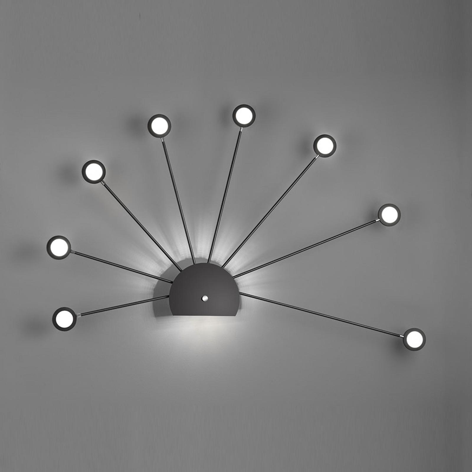 Applique LED Peacock, neuf lampes, noire