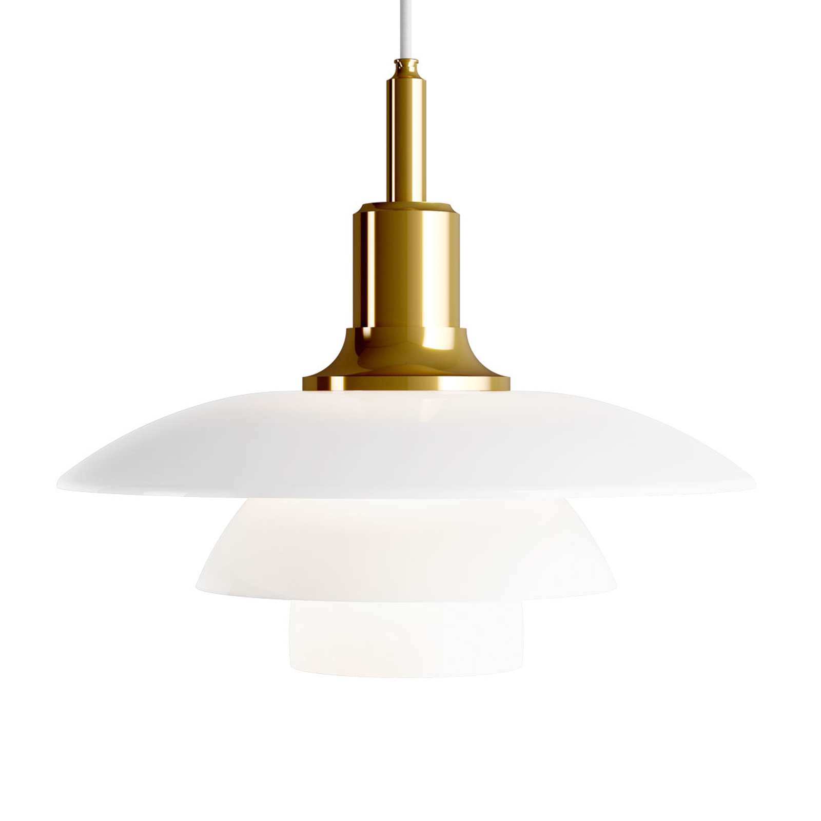 Louis Poulsen PH 3/2 glashængelampe messing-hvid