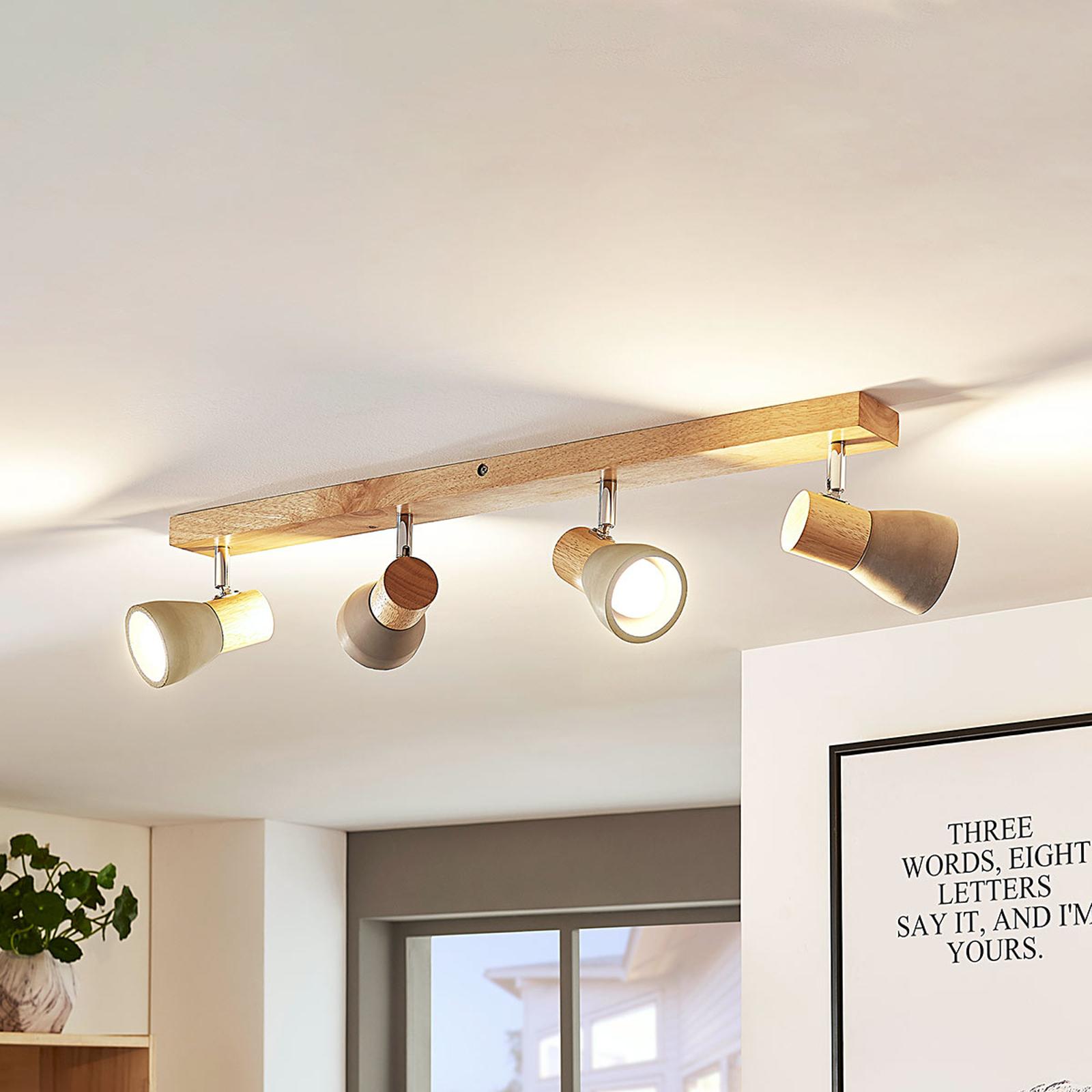 LED-taklampe Filiz i tre og betong, 4 lyskilder