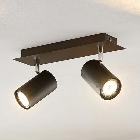 Lindby Joffrey plafondspot, 2-lamps, zwart