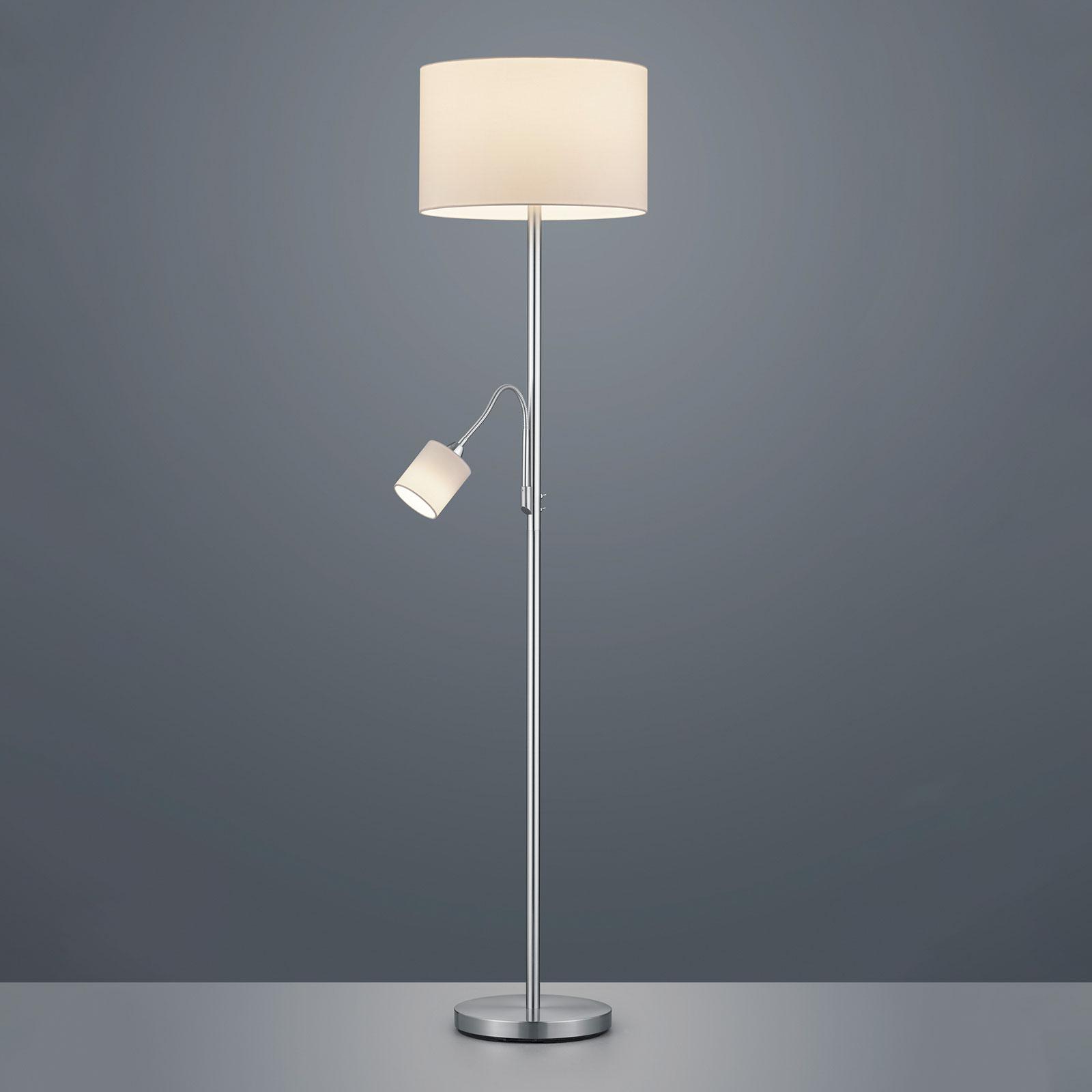 Stojací lampa Hotel s čtecím světlem, bílá