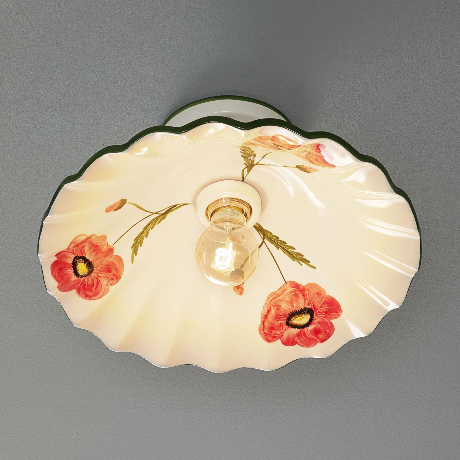 Stilfuld loftlampe i keramik Papaveri