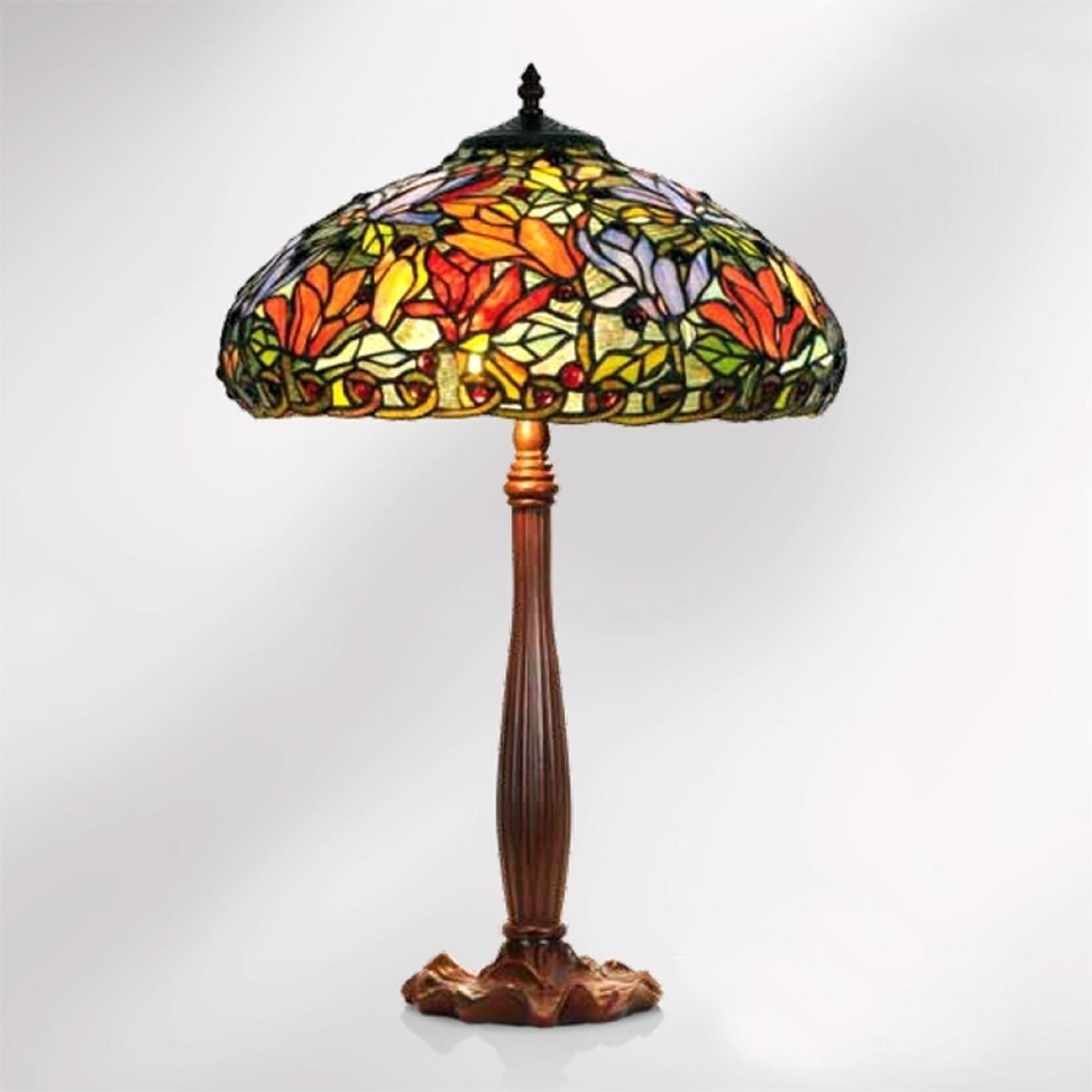 Bordslampa Elaine, blomstermönster i tiffanystil