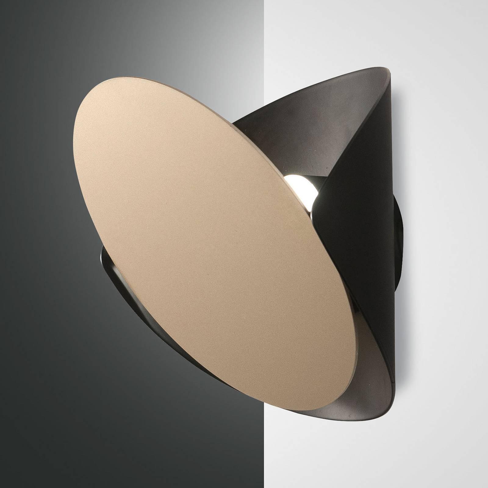 Applique LED Shield, dimmable, noire-dorée