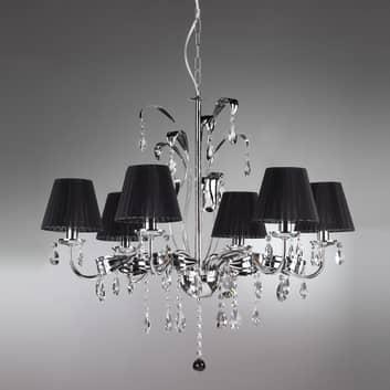 Kroonluchter Jacqueline, 6-lamps zwart