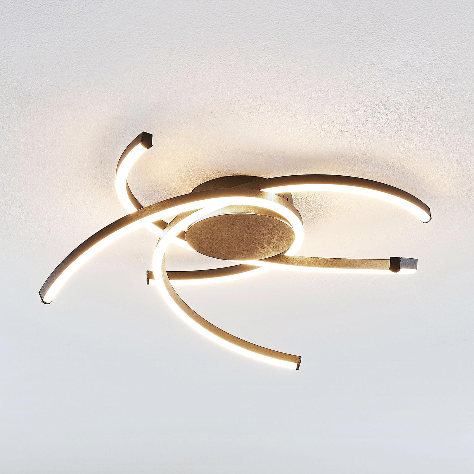 Lindby Katris plafonnier LED, 58cm, noir