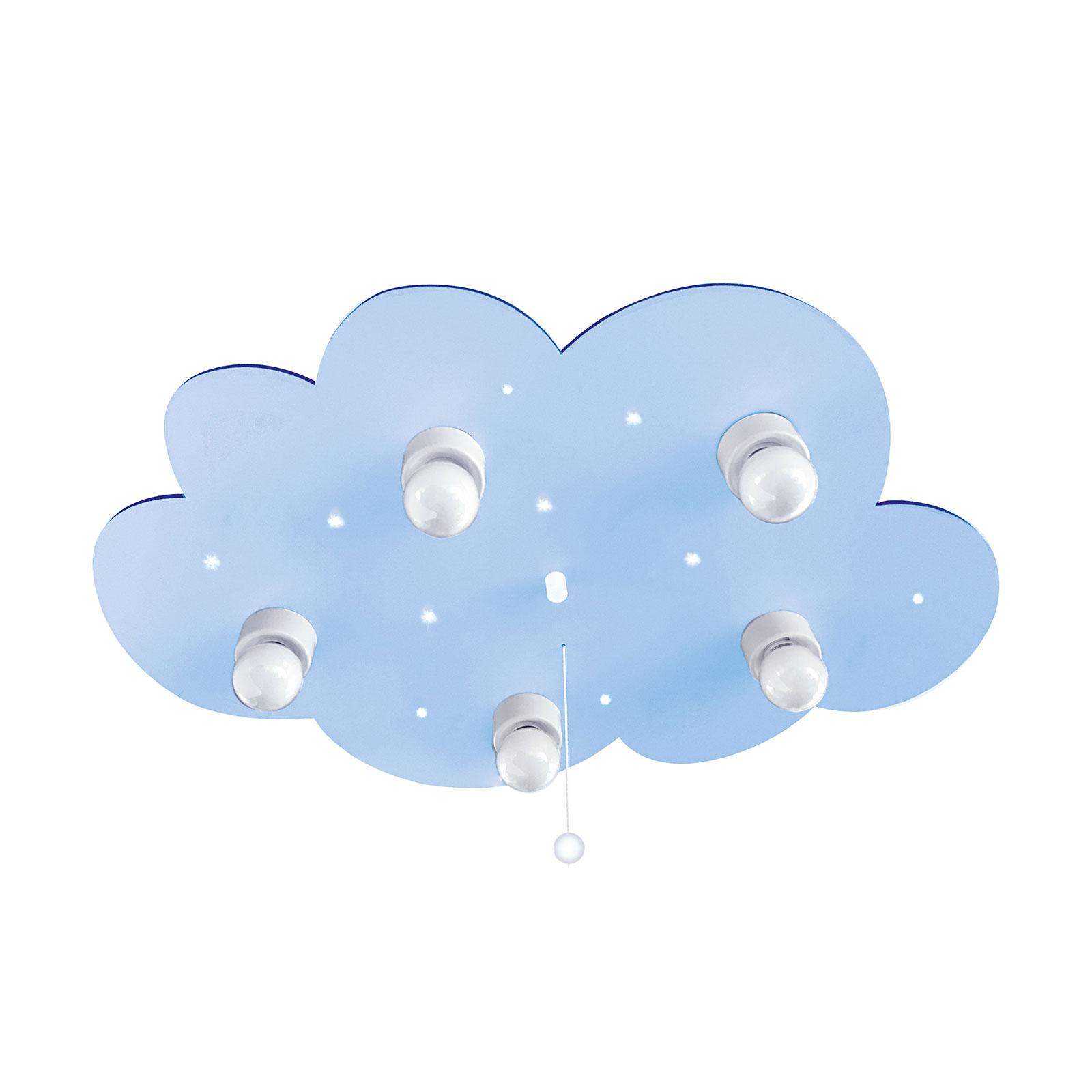 Plafondlamp wolk, 5-lamps, lichtblauw