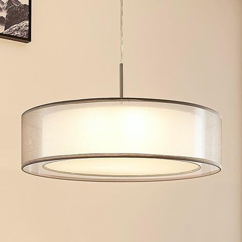 Pendellampe Amon i tekstil, dimbare LED-lys, grå