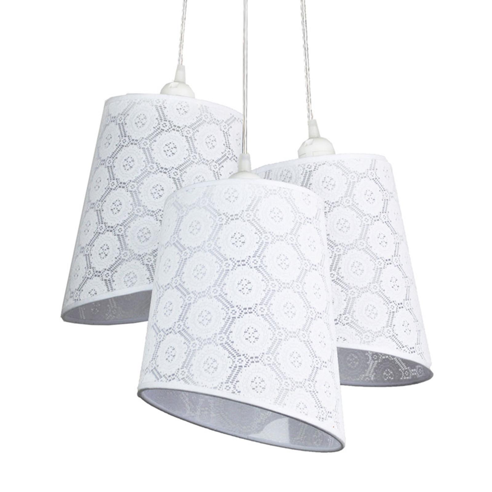 Lampa wisząca Verona, 3-punktowa, biała wzorzysta