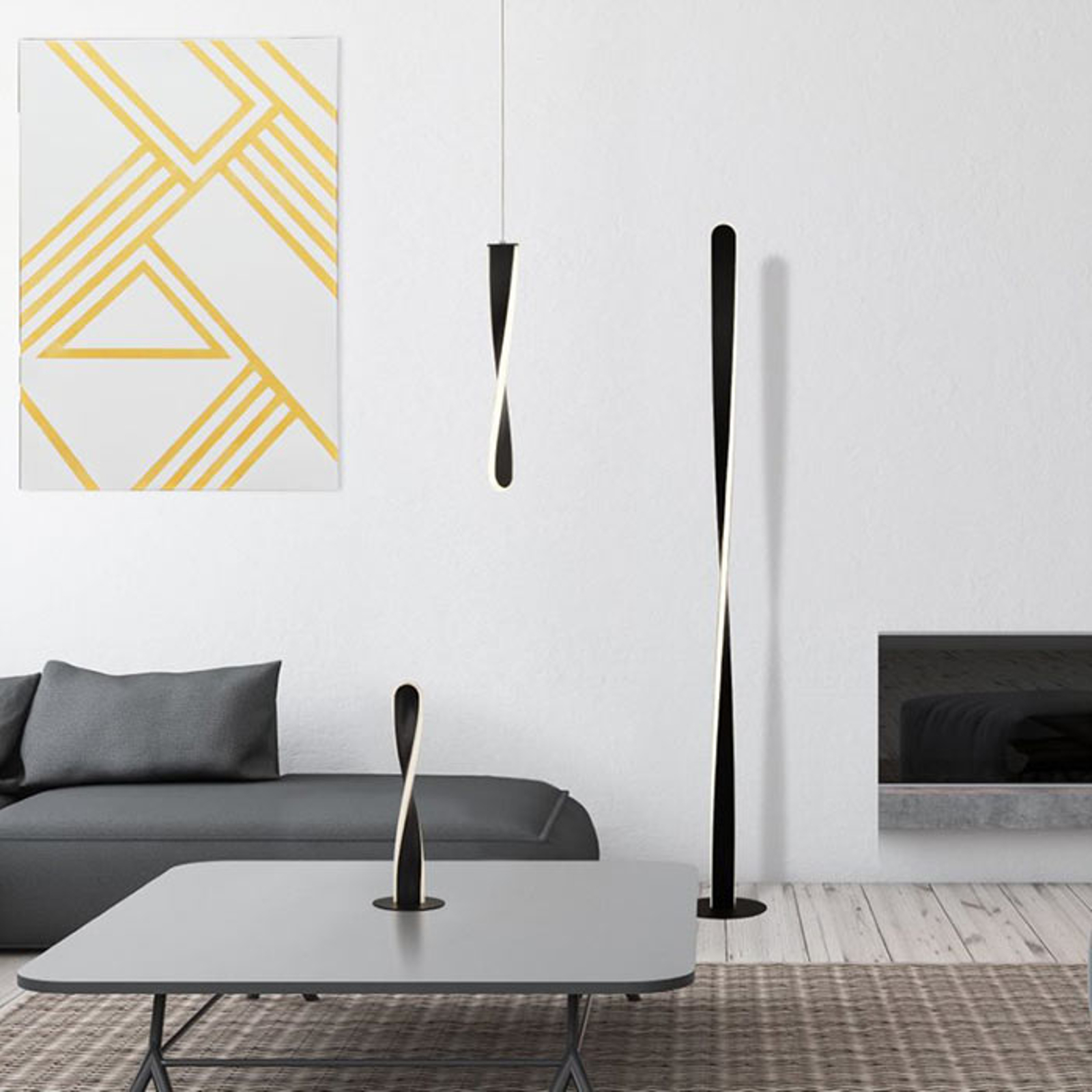 Lampe à poser LED Paddle de forme torsadée