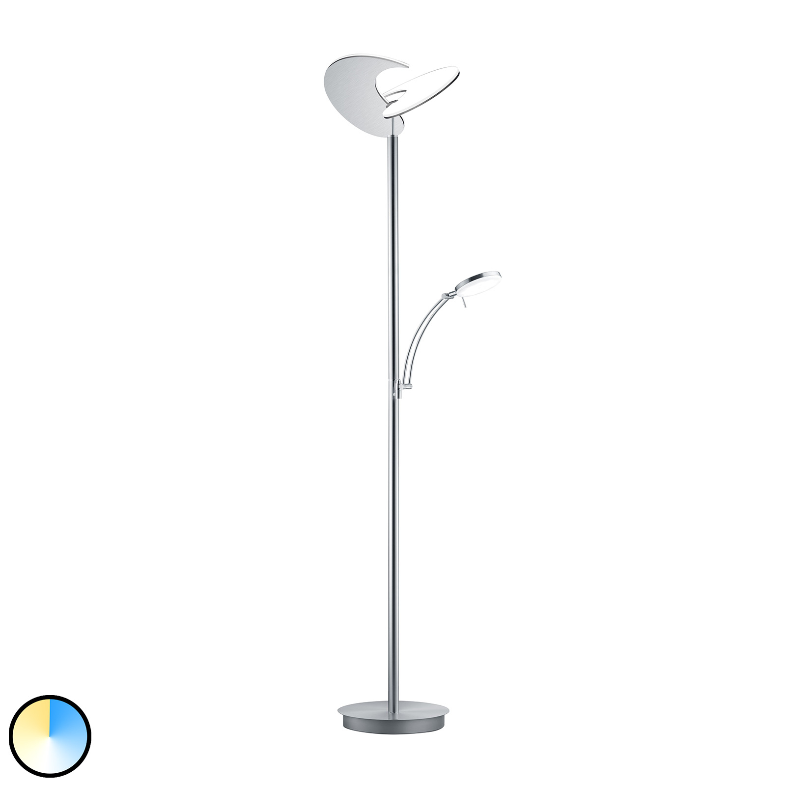 B-Leuchten Malibu LED-Stehlampe nickel matt CCT