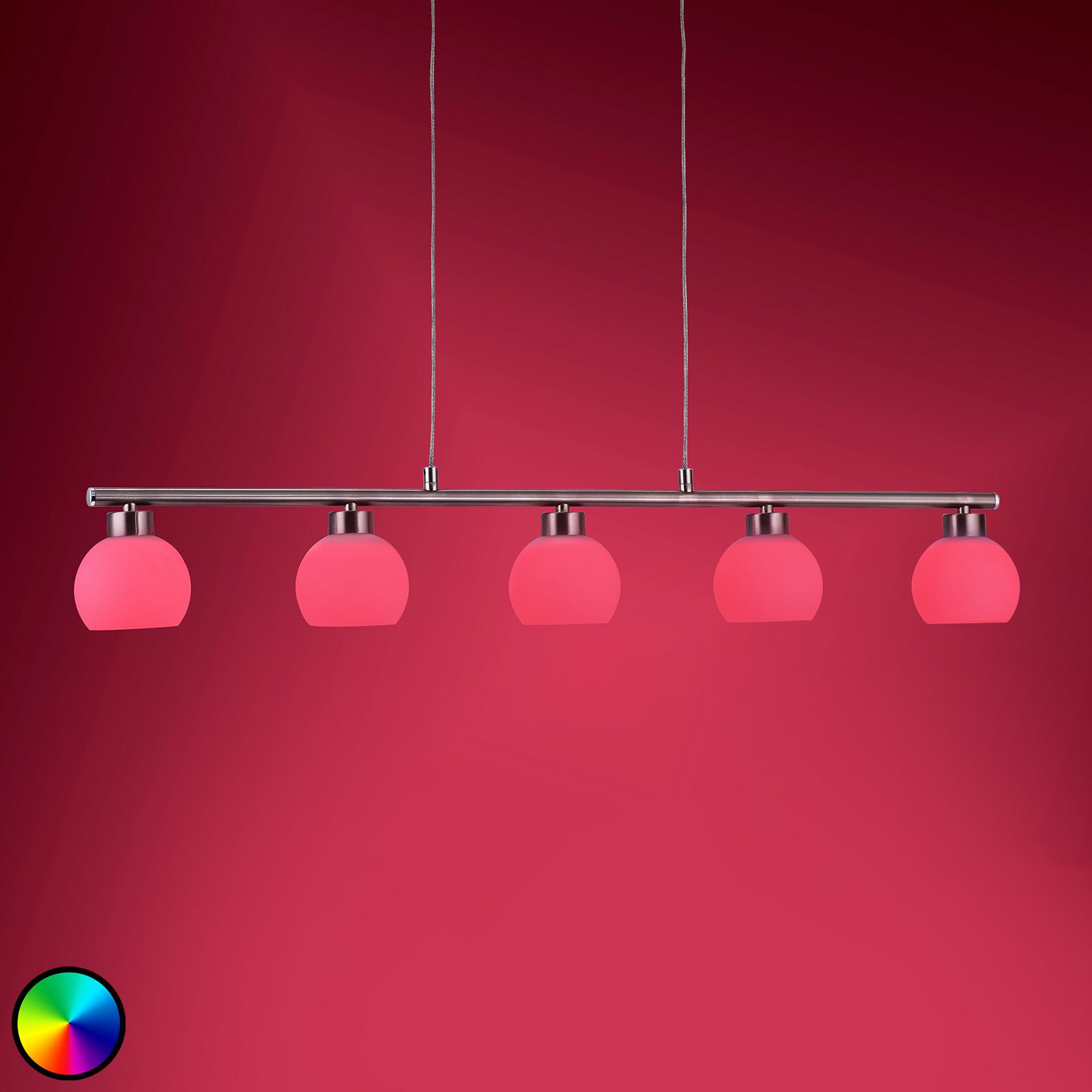 Lampa wisząca LED w formie belki Yaeka, pilot