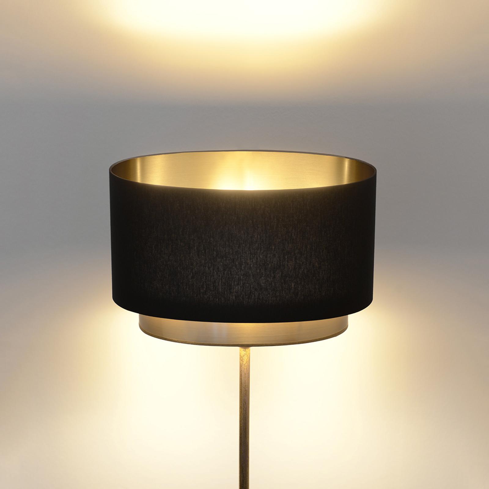 Stehlampe Mattia, Schirm oval und doppelt, schwarz