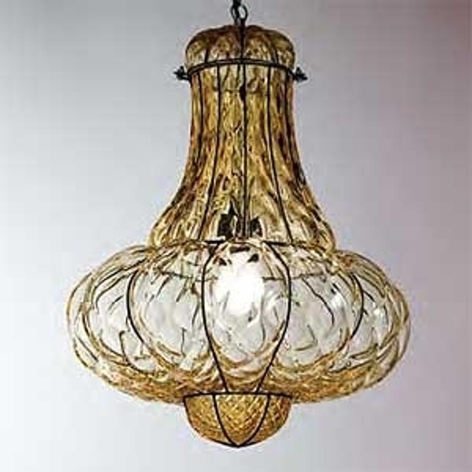Handgemaakte hanglamp DOGE, amber, 53 cm