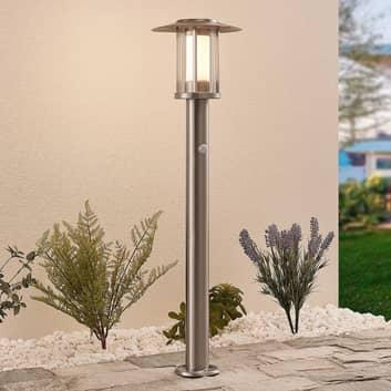 Gregory LED-gadelampe rustfrit stål, sensor