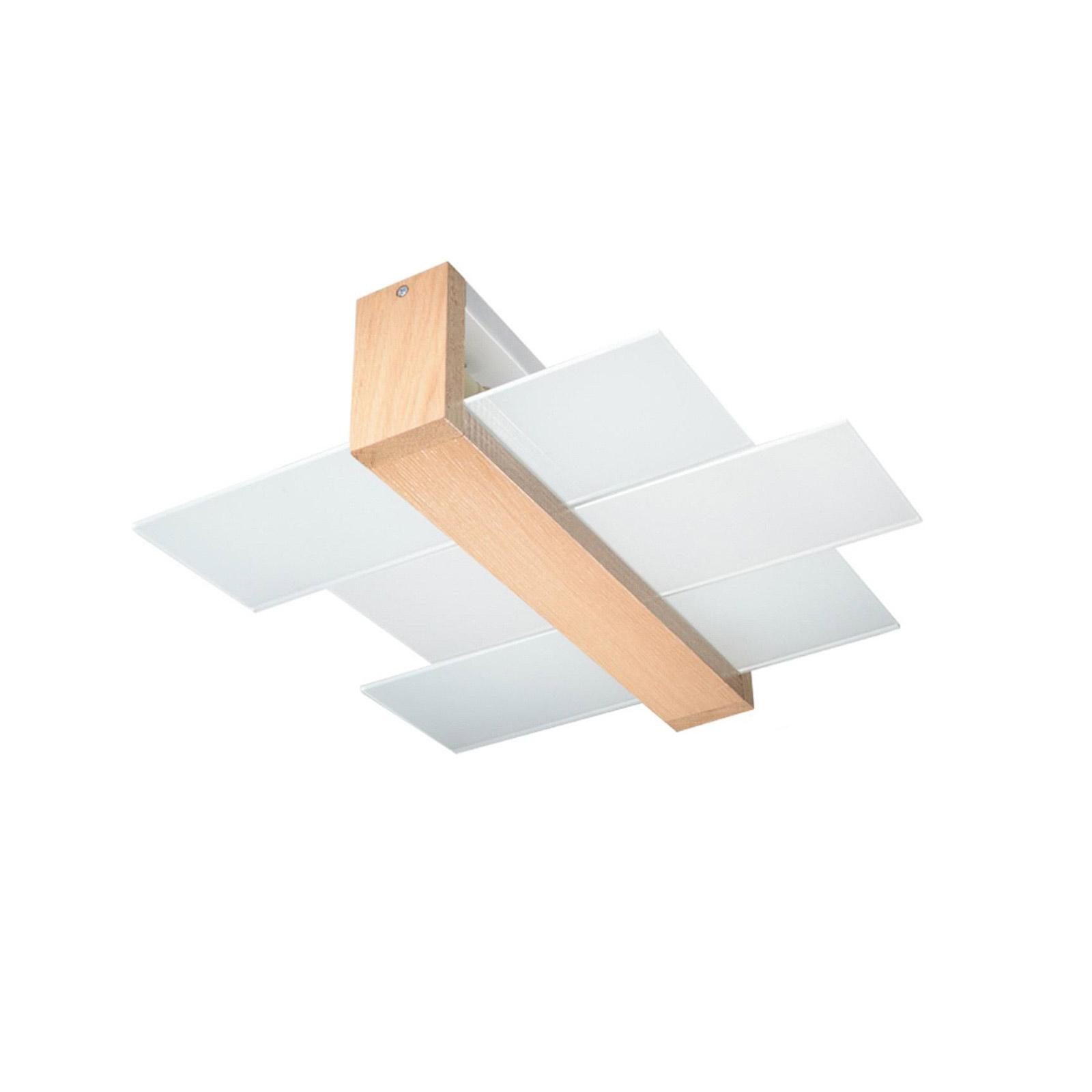 Deckenleuchte Shifted 2, Glas und helles Holz