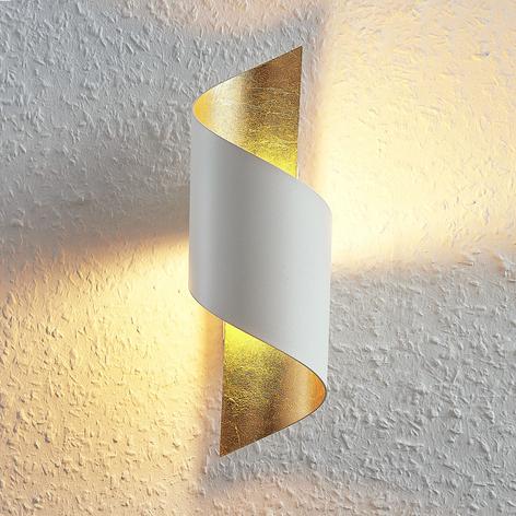 LED-vägglampa Desirio i metall, vit-guld