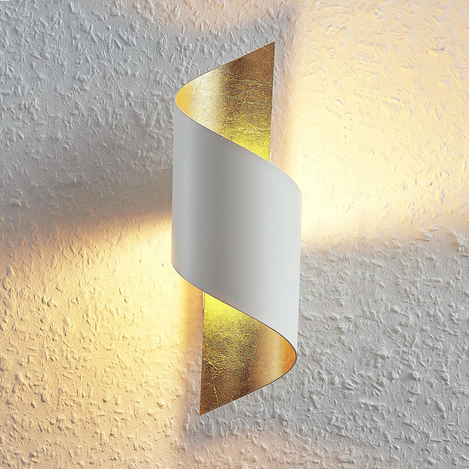 Lámpara de pared LED metálica Desirio, oro blanco
