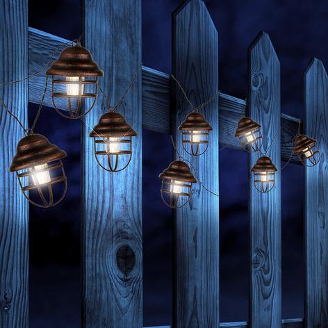 Solcelledrevet lyslenke Lina med 8 lanterner