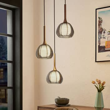 Lucande Tetira suspension, 3 lampes, ronde, brune