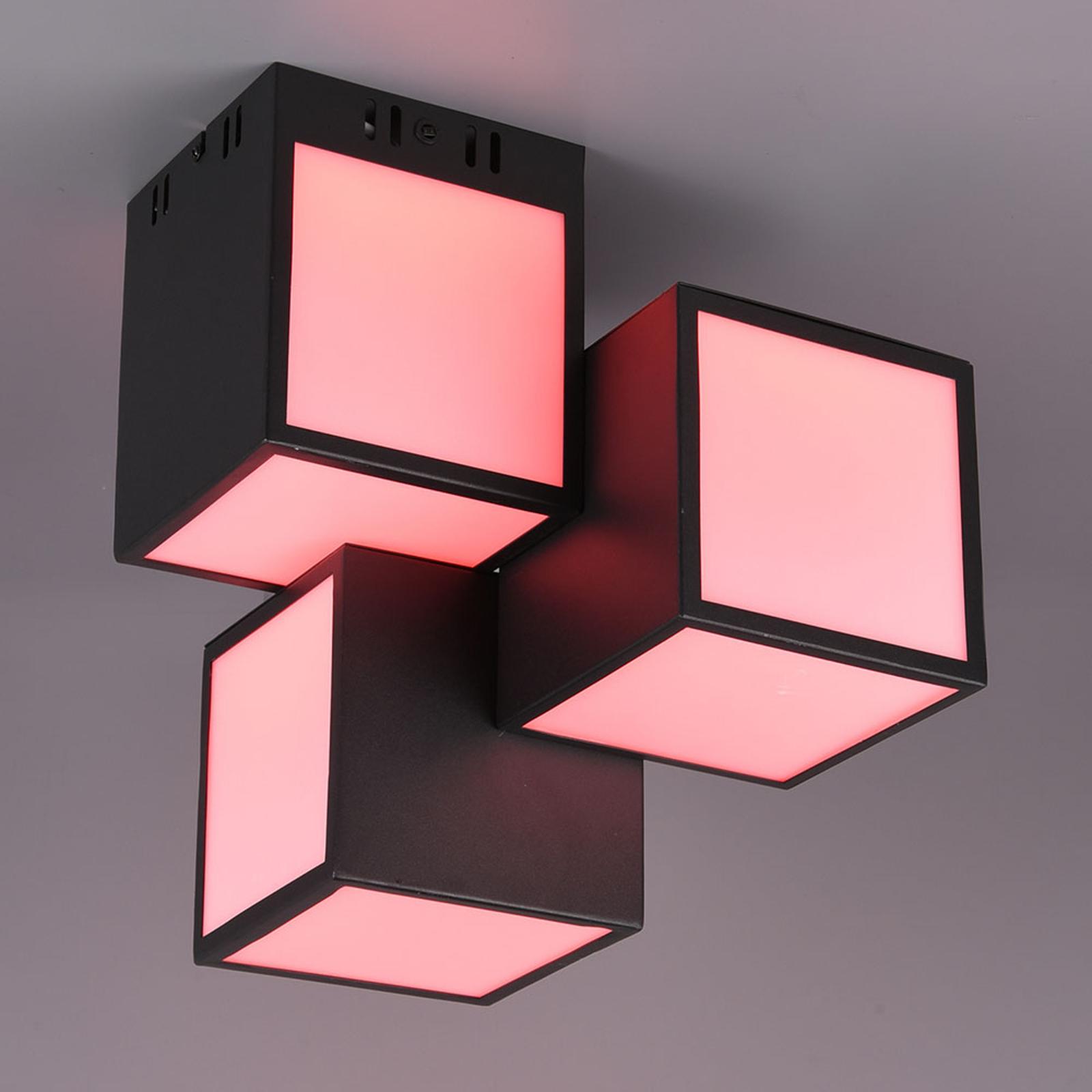 Trio WiZ Oscar LED plafondlamp 30x30cm, zwart