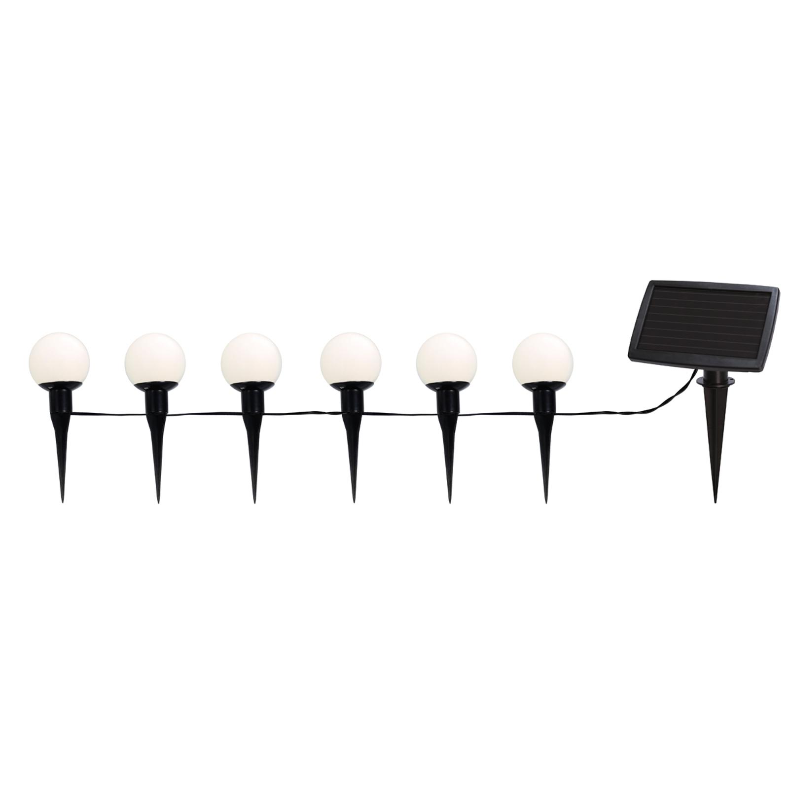 Combo LED-solcelle lyskæde med 6 solcelle-kugler