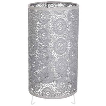 Lámpara de mesa Bebo con patrón de encaje gris