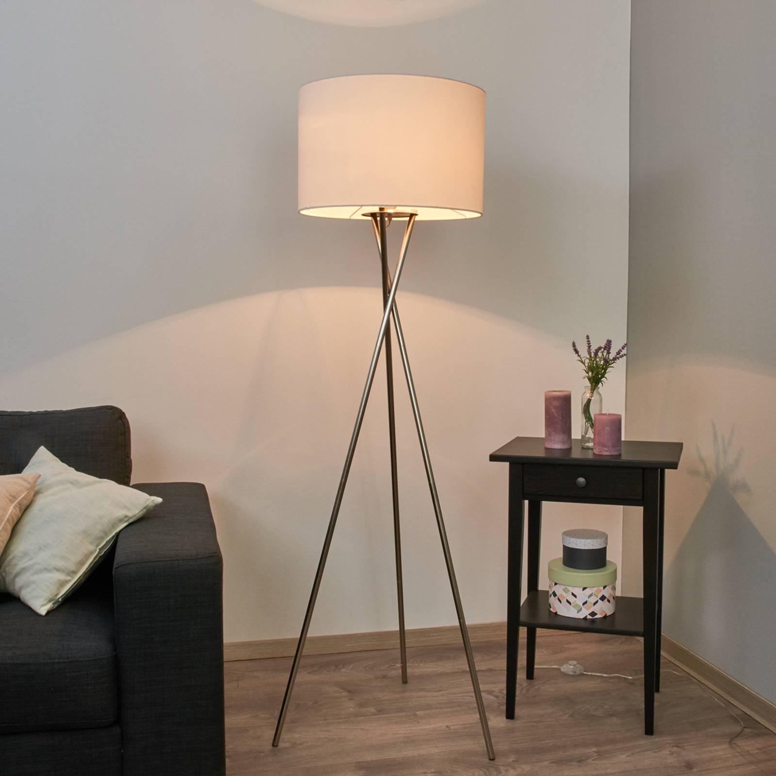 Trójnożna lampa stojąca Fiby, biały, tekst. klosz
