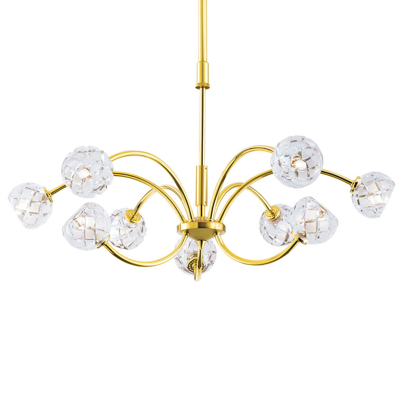 Křišťálové závěsné světlo Maderno, zlato, 69cm