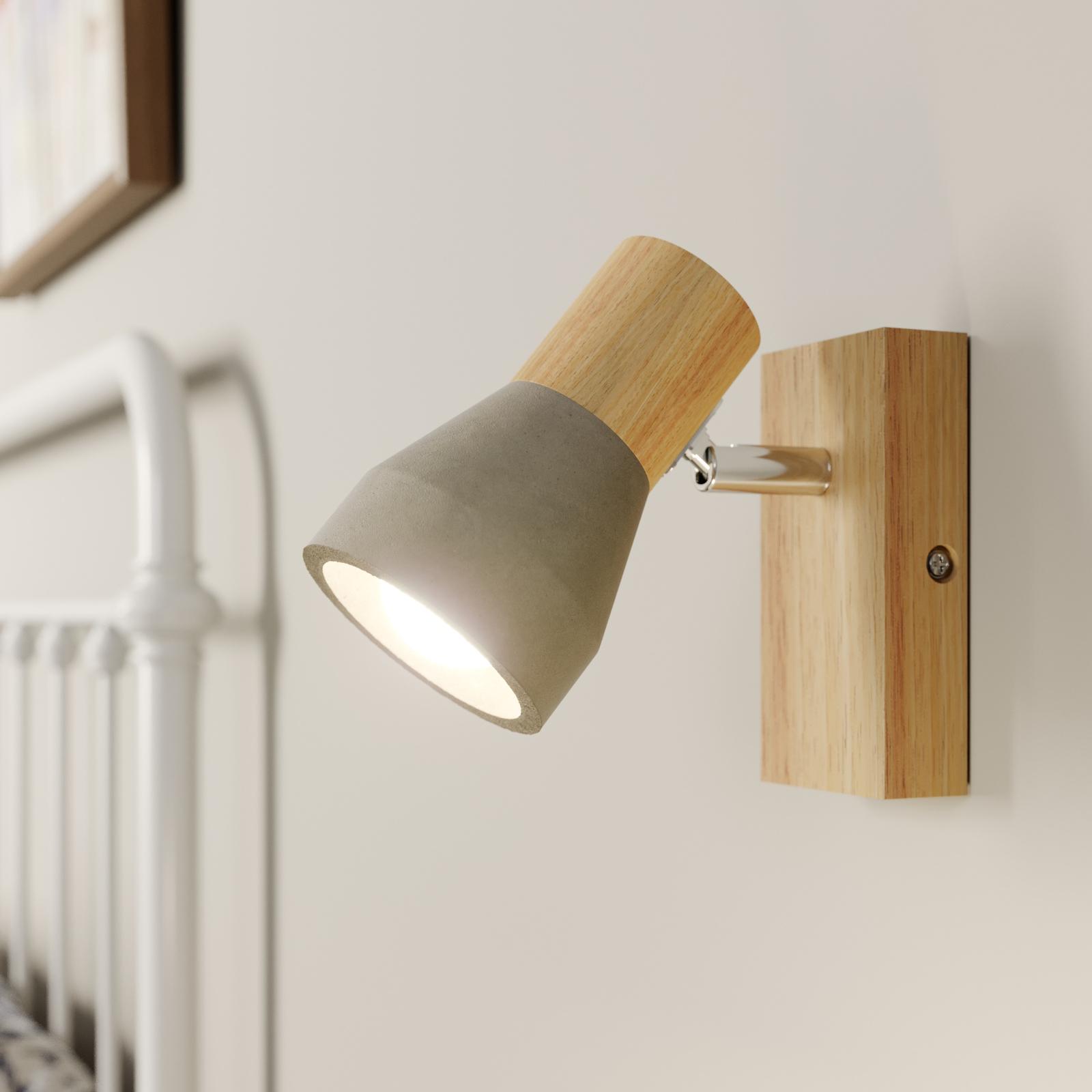 Faretto a LED Filiz in legno e cemento