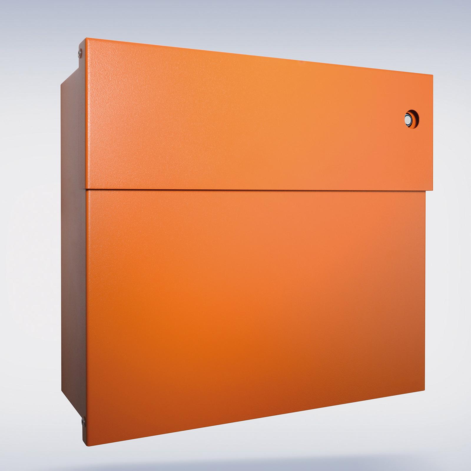 Briefkasten Letterman IV, blaue Klingel, orange