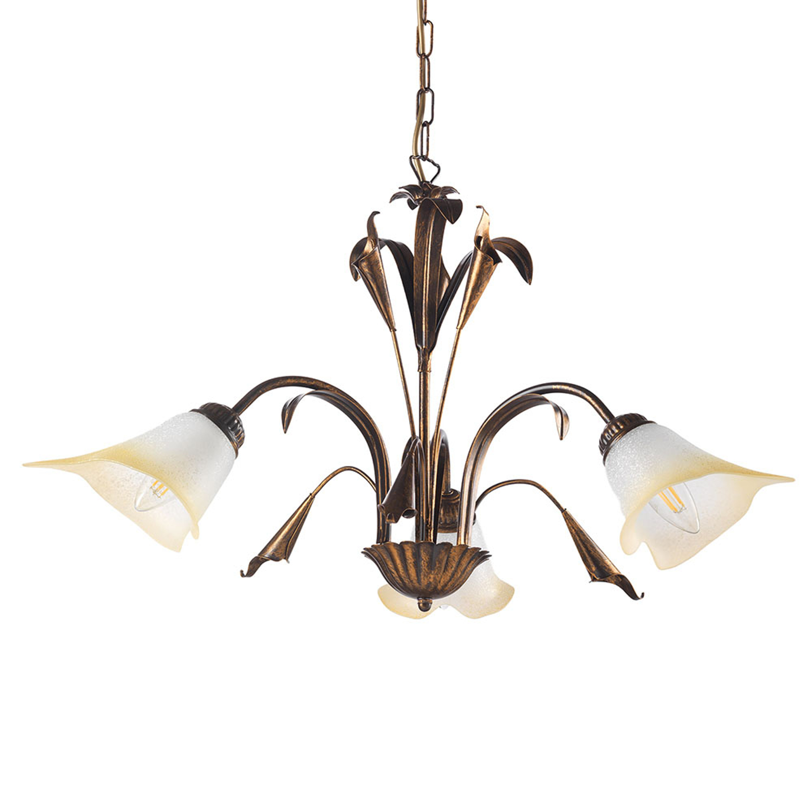 Lucrezia hængelampe, 3 lyskilder, bronze