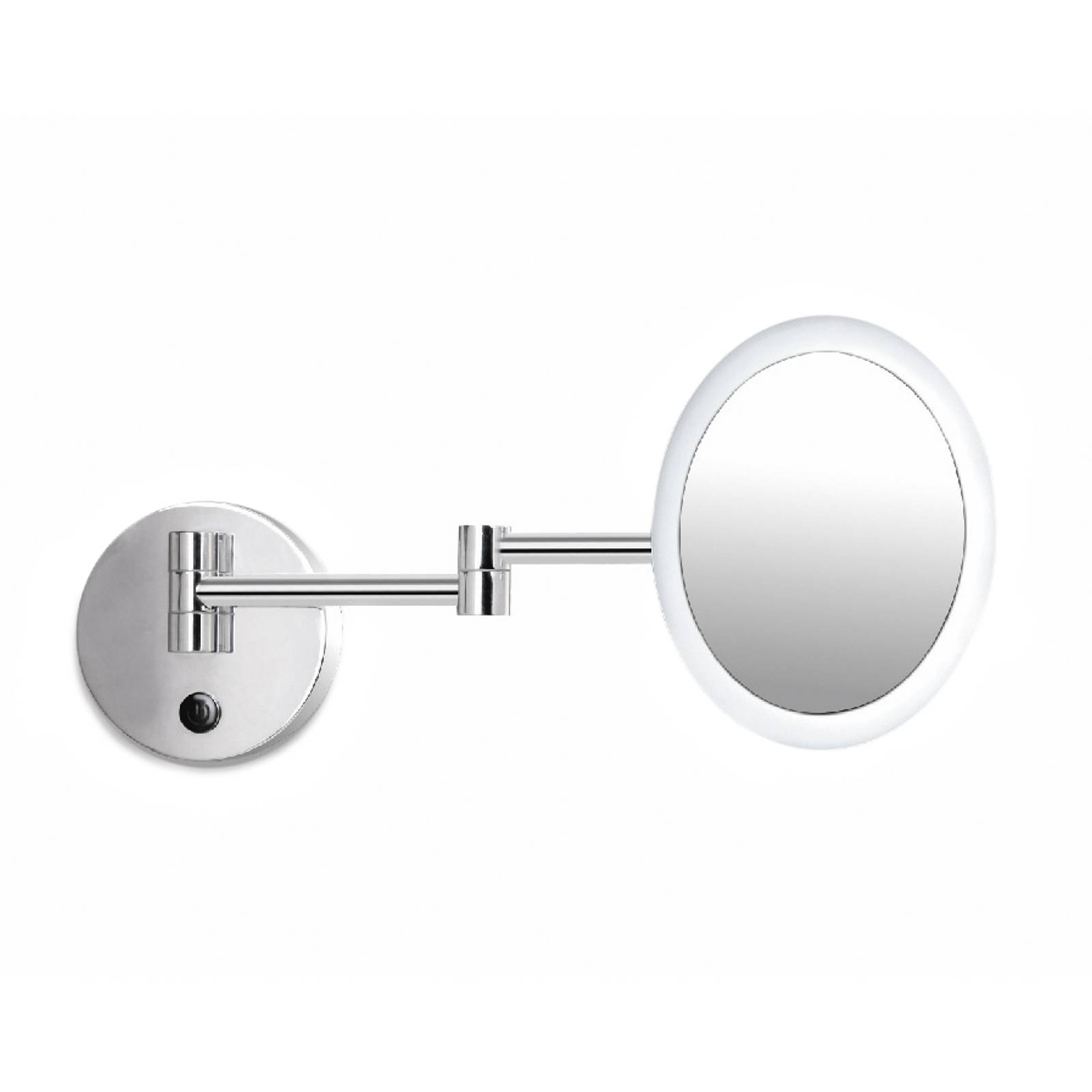 Rim LED make-up mirror in chrome with joints