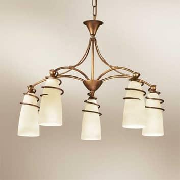 5-lichts hanglamp Daniele, antiek messing