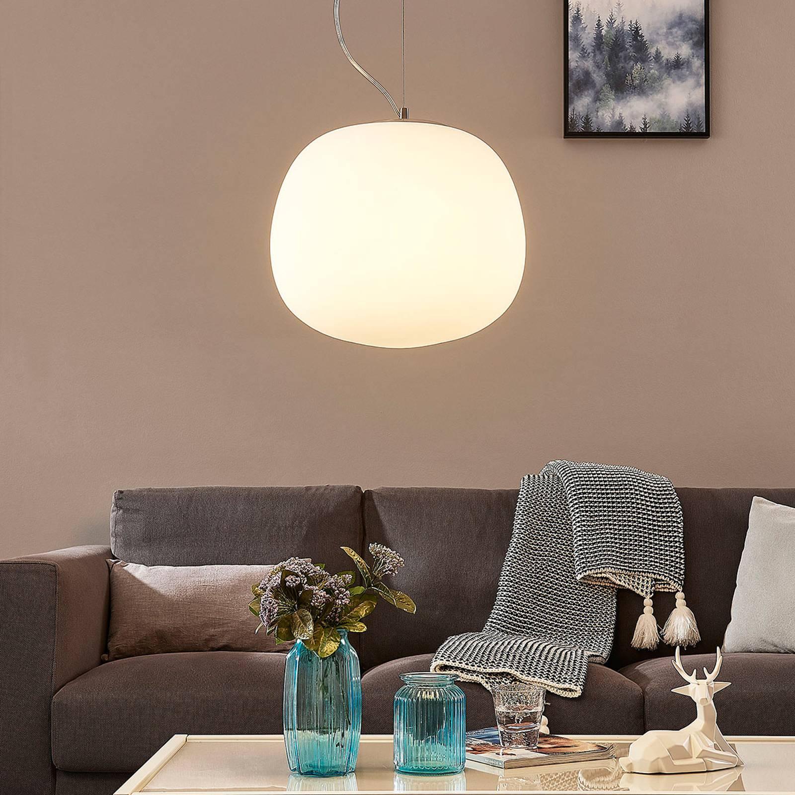 Szklana lampa wisząca Ginevra, okrągła, 38 cm