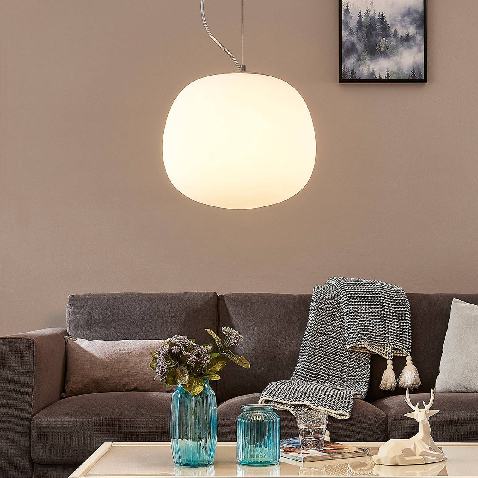 Glazen hanglamp Ginevra, rond, wit, 38 cm