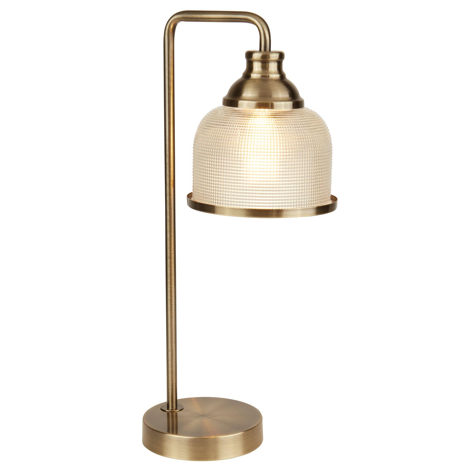 Bistro II bordlampe, holophanglas, antik messing