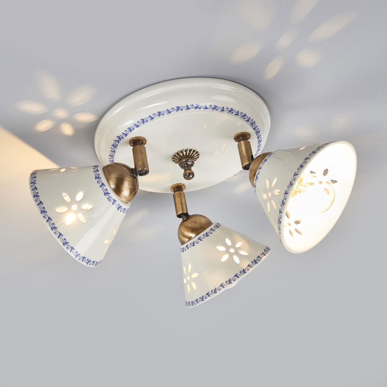 Plafondlamp NONNA van wit keramiek, 3-lichts