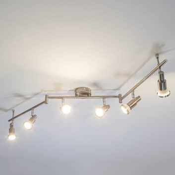 Lámpara de techo LED de color níquel Aron, 6 focos