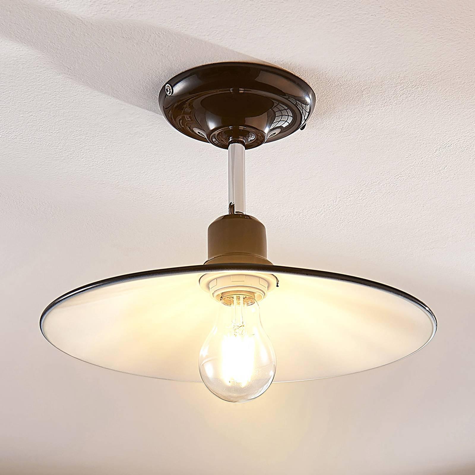Zwarte metalen plafondlamp Phinea, vintage look