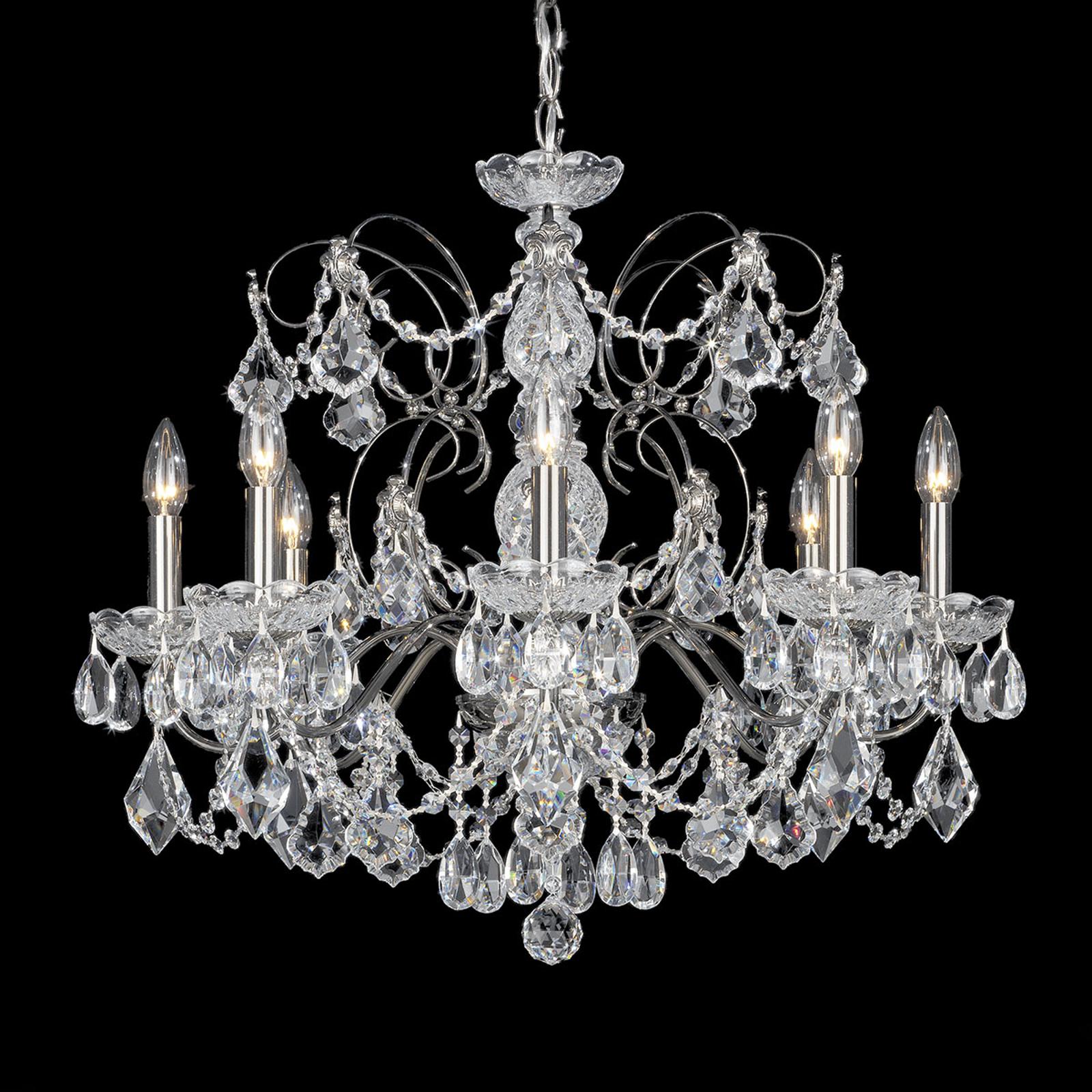 Schonbek Century Crystal Chandelier 8 Bulb Black Lights Co Uk