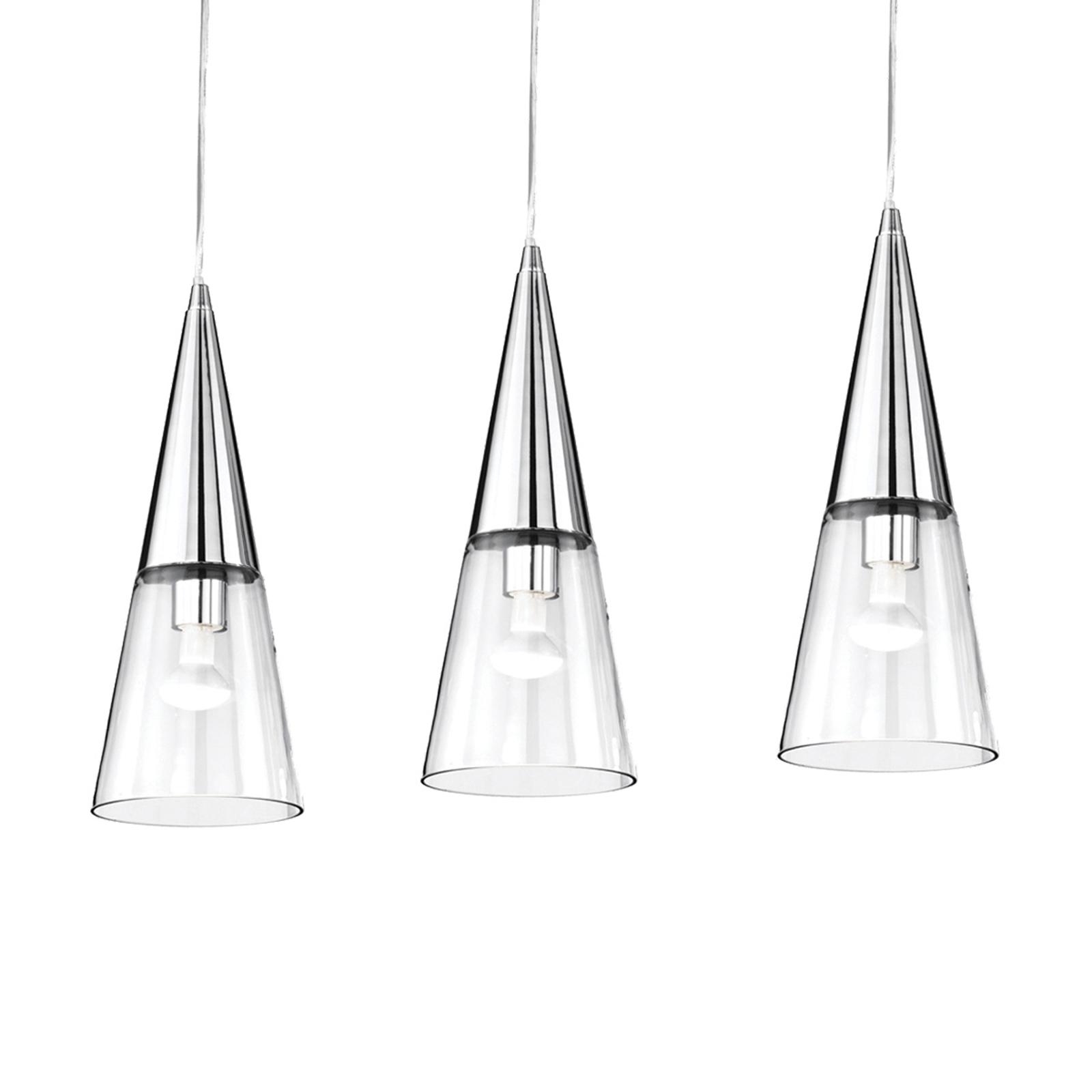 Hanglamp Cono 3-lamps chroom/transparant