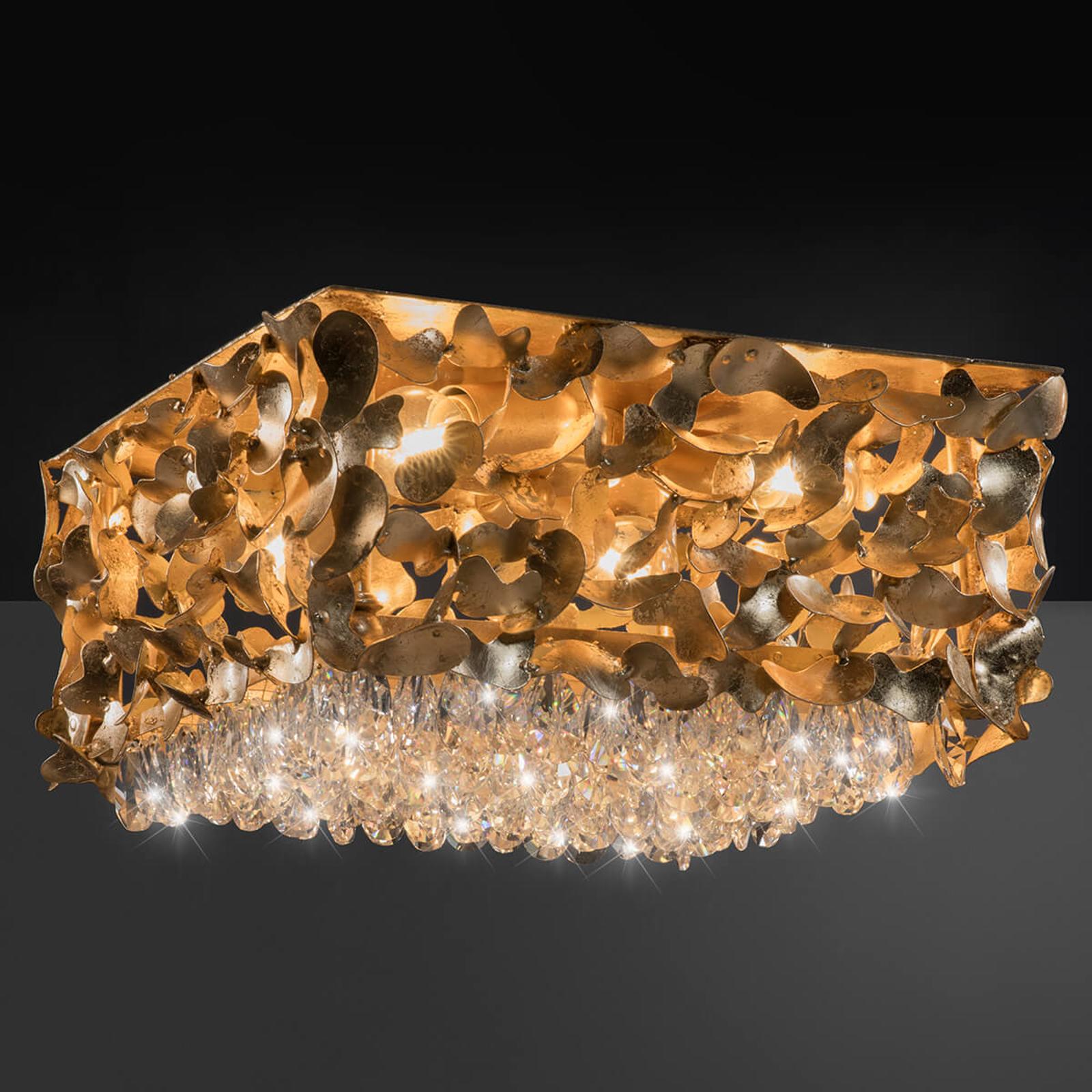 Lampa sufitowa złoto płatkowe Elisa, 35x35 cm