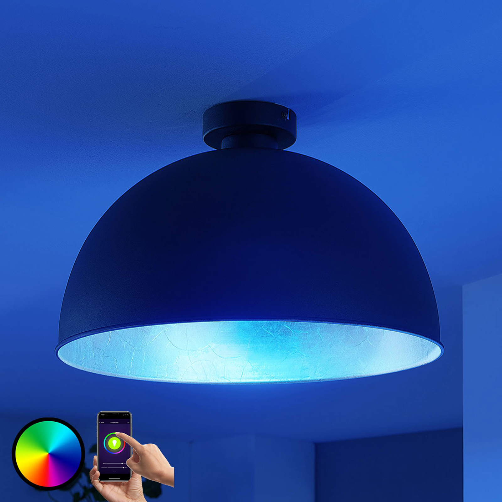 Acquista Plafoniera LED Bowl WiFi 41cm nero/argento