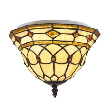 LED-taklampe Jarai i fargerik Tiffany-look