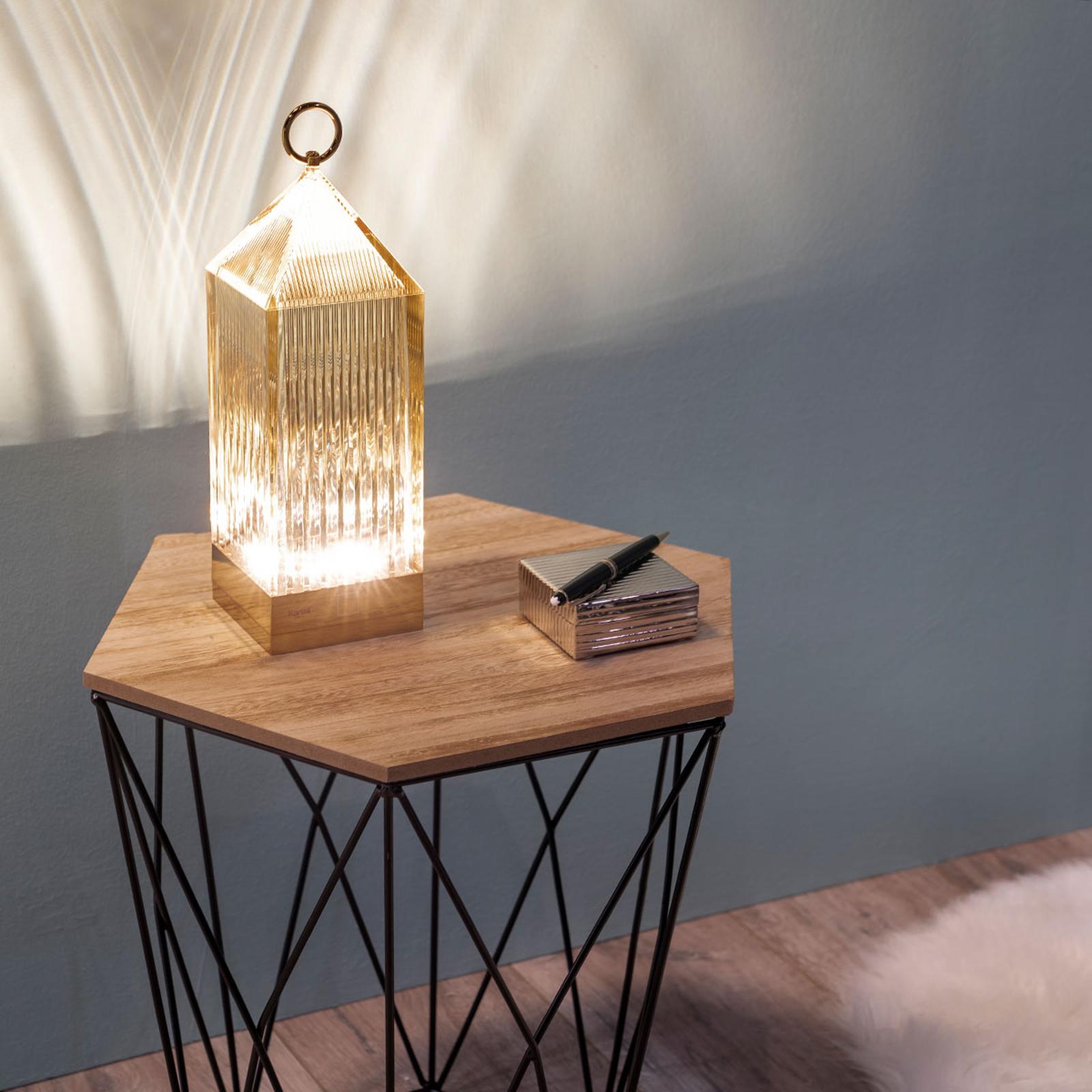Kartell Lantern -LED-pöytälamppu, meripihka, IP54