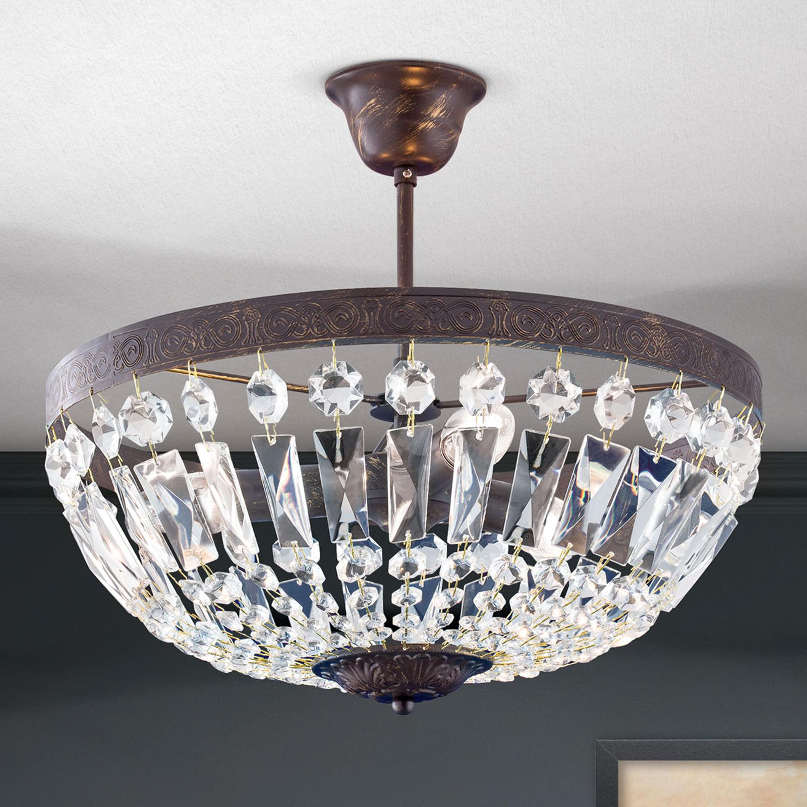 Lámpara de techo Andara, cadenas de cristal Ø 40cm