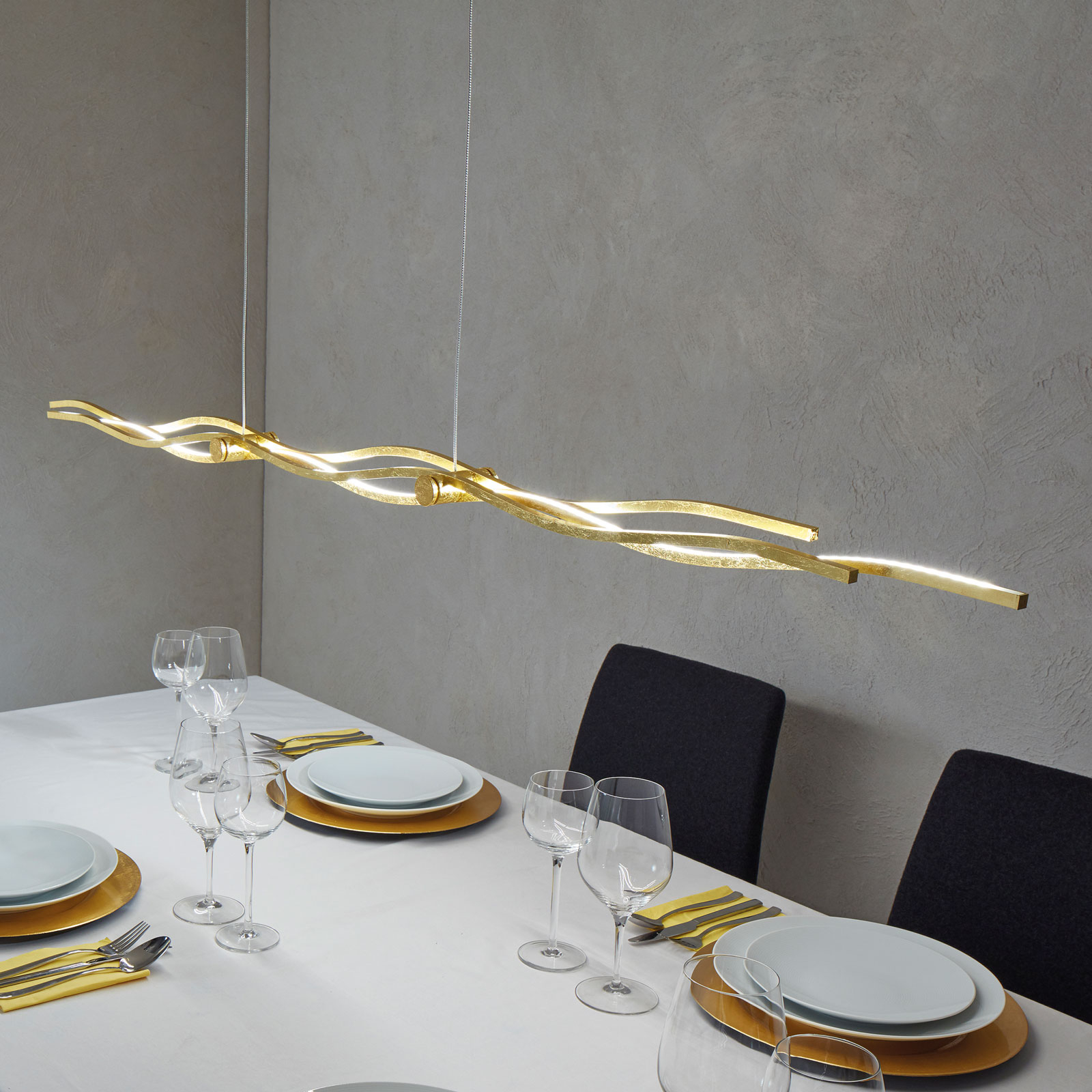 Brilliant LED pendant lamp Silk gold leaf 157 cm_3051092_1