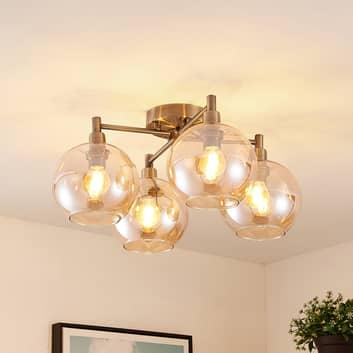 Lindby Brendan loftlampe, brunt glas, 4 lyskilder
