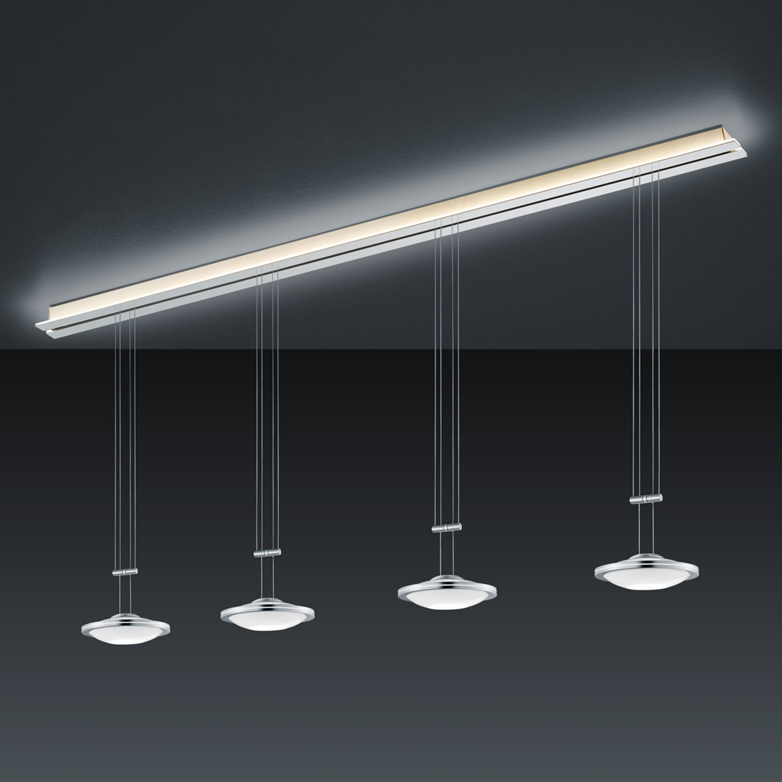 BANKAMP Strada Saturno lampa wisząca, 4pkt, 185 cm